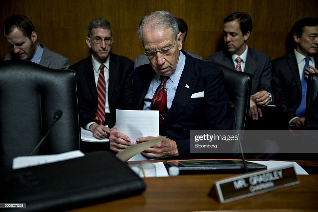 Senator Charles 'Chuck' Grassley, a Republican from Iowa and chairman of the Senate Judiciary Committee, waits to begin a Senate Judiciary Committee in Washington, D.C., U.S., on Wednesday, Dec. 9, 2015. The California couple who fatally shot 14 people last week in what authorities are calling a terror attack had become radicalized and discussed martyrdom at least two years ago, FBI Director James Comey said. Photographer: Andrew Harrer/Bloomberg via Getty Images