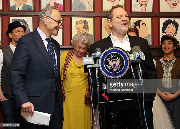 S Senator Charles E Schumer and producer Harvey Weinstein attend US Senator Charles E Schumer announces his campaign to give Broadway and live...