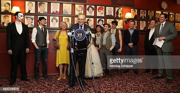 S Senator Charles E Schumer Nick Scandalios chairman of the Broadway League and executive vice president of the Nederlander Organization producer...
