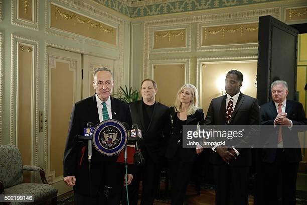 Senator Charles E Schumer studio executive Harvey Weinstein Judith Light Norm Lewis and Chairman of the Broadway League Robert E Wankel attend as US...