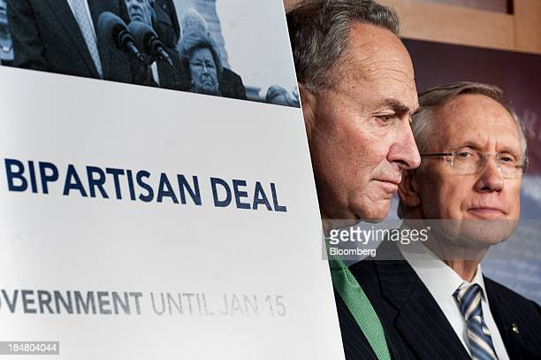 Senator Charles Schumer, a Democrat from New York, left, and Senate Majority Leader Harry Reid, a Democrat from Nevada, attend a news conference at...