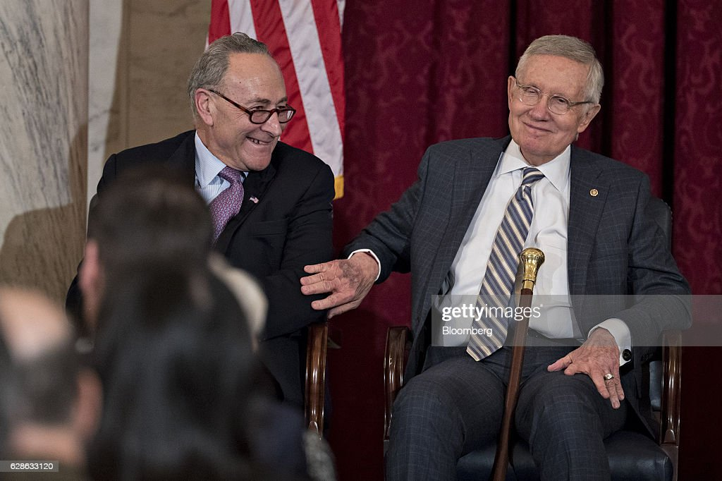 ice President Joe Biden And Hillary Clinton Attend Unveiling Of Retiring Senate Minority Leader Harry Reid Portrait : News Photo