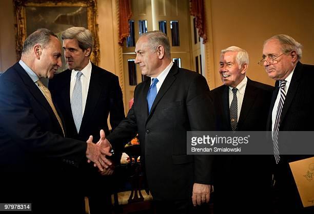 Senator Charles Schumer greets Israeli Prime Minister Benjamin Netanyahu while Senator John Kerry Senator Richard Lugar and Senator Carl Levin on...