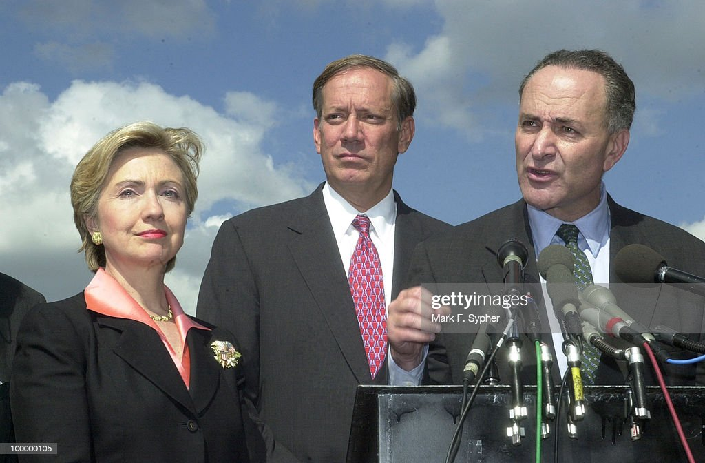 Senator Charles Schumer (D-NY) joined Senator Hillary Rodham Clinton (D-NY), Govenor George E. Pataki (R), and a host of fellow New York politicians at the House Triangle on Thursday to explain exactly how much it will cost to rebuild New York.
