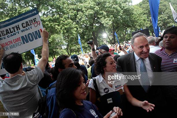 US Senator Charles Schumer joined thousands as they rallied outside the Capitol to show their support for revamping the nation's health care system...