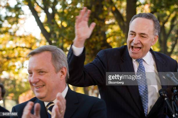 Senator Charles Schumer of New York speaks about the Democrats new direction for America following the midterm elections as Senator Dick Durbin left...