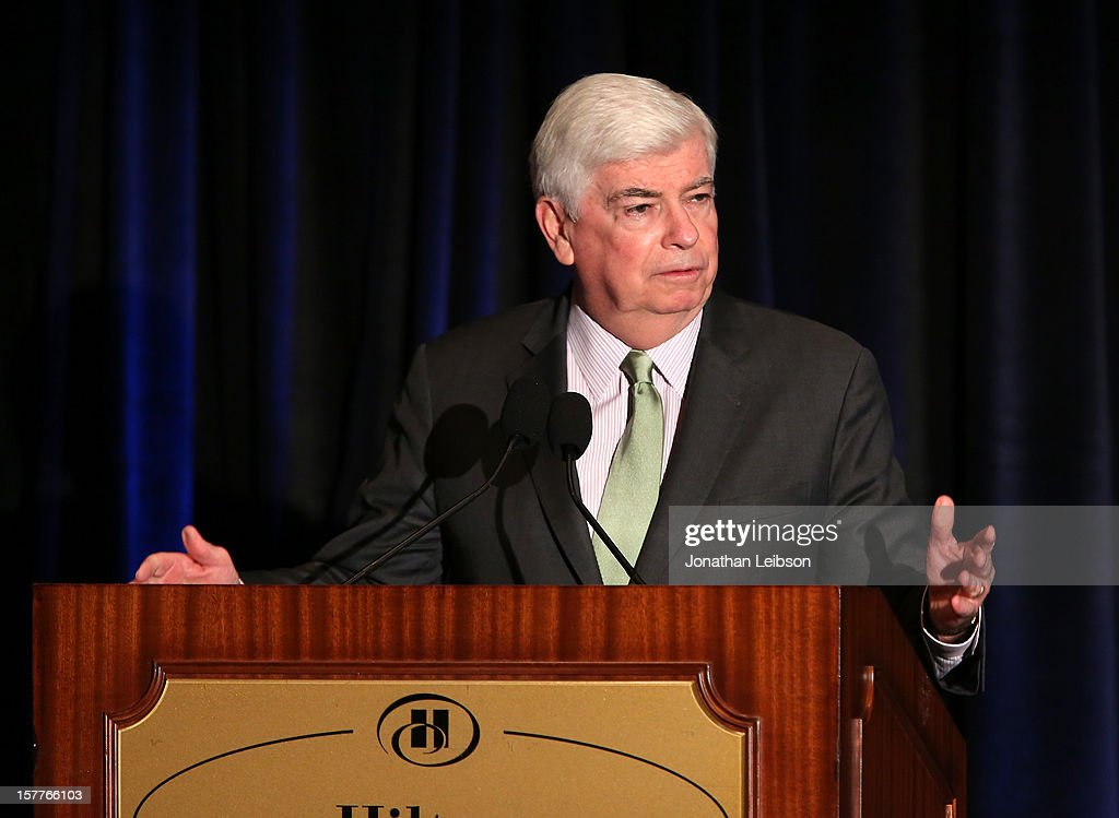 Senator Chris Dodd, Chairman and CEO, Motion Picture Association of America (MPAA) speaks onstage during the Content Protection Summit produced by Variety and CDSA at Universal Hilton Hotel on December 6, 2012 in Universal City, California.