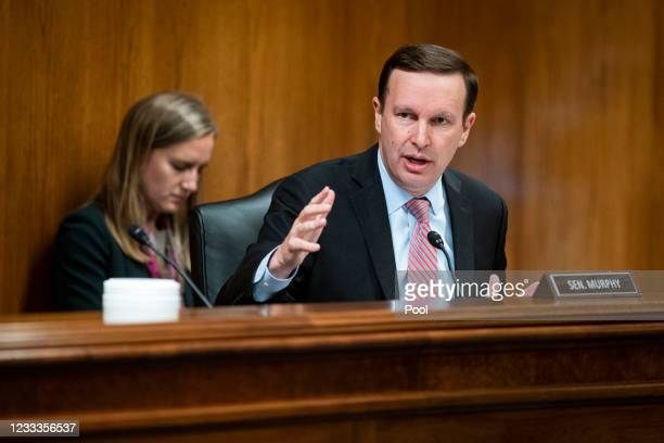 Senator Chris Murphy speaks during a Senate Appropriations Subcommittee hearing on June 9, 2021 at the U.S. Capitol in Washington, D.C. The committee...