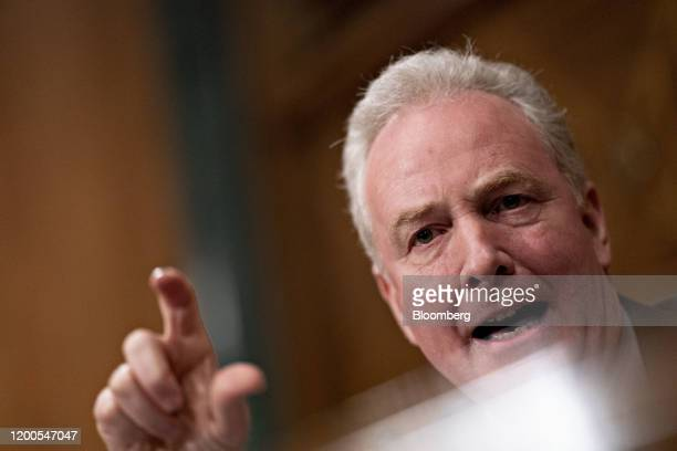 Senator Chris Van Hollen a Democrat from Maryland questions witnesses during a Senate Banking Committee confirmation hearing in Washington DC US on...
