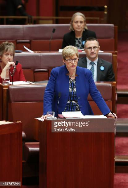 Senator Christine Milne during Senate question time on July 7 2014 in Canberra Australia Twelve Senators will be sworn in today with the repeal of...