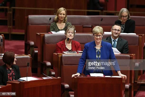 Senator Christine Milne nominates Senator Scott Ludlam for President of the Senate on July 7 2014 in Canberra Australia Twelve Senators will be sworn...