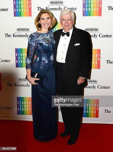 Senator Christopher Dodd and wife Jackie Clegg Dodd arrive at a special dinner for Kennedy Center honorees and guests at the State Department in...