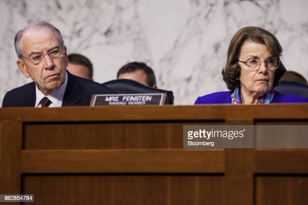 Senator Chuck Grassley a Republican from Iowa and chairman of the Senate Judiciary Committee left and ranking member Senator Dianne Feinstein a...