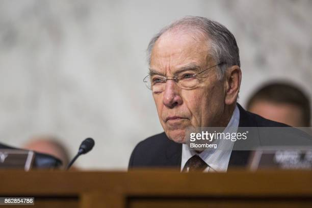 Senator Chuck Grassley a Republican from Iowa and chairman of the Senate Judiciary Committee listens during a hearing with Jeff Sessions US attorney...