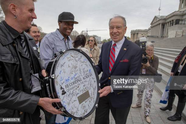 Senator Chuck Grassley greats members at the Recording Academy's annual GRAMMYs on the Hill Advocacy Day on Capital Hill on April 19, 2018 in...