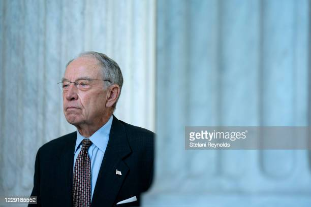 Senator Chuck Grassley speaks during a television interview in Senate Russell Office Building on October 20, 2020 in Washington, DC. Senate...