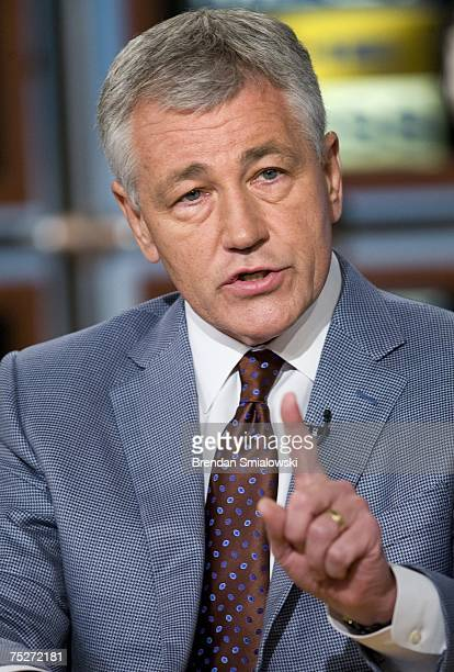 Senator Chuck Hagel speaks during a live taping of Meet the Press at NBC July 8 2007 in Washington DC Hagel was invited to speak about the war in...