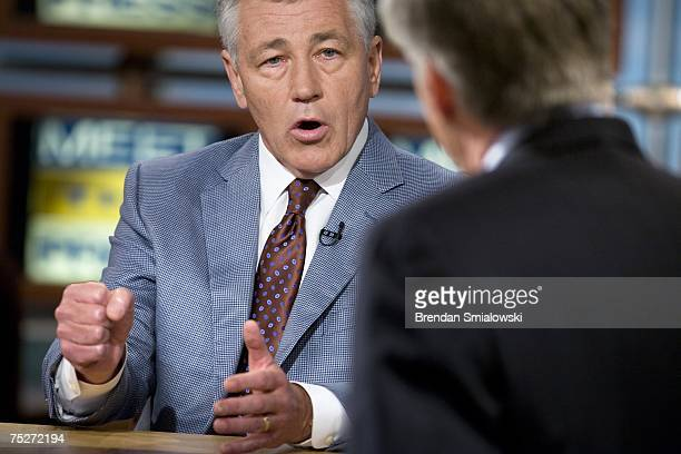 Senator Chuck Hagel speaks with David Gregory during a live taping of Meet the Press at NBC July 8 2007 in Washington DC Hagel was invited to speak...