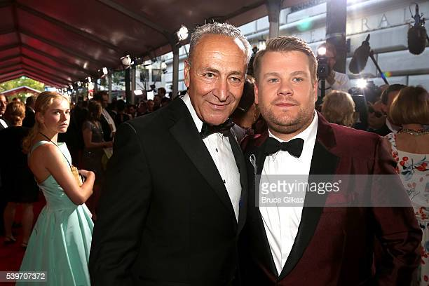 S Senator Chuck Schumer and Host James Corden attends 70th Annual Tony Awards Arrivals at Beacon Theatre on June 12 2016 in New York City
