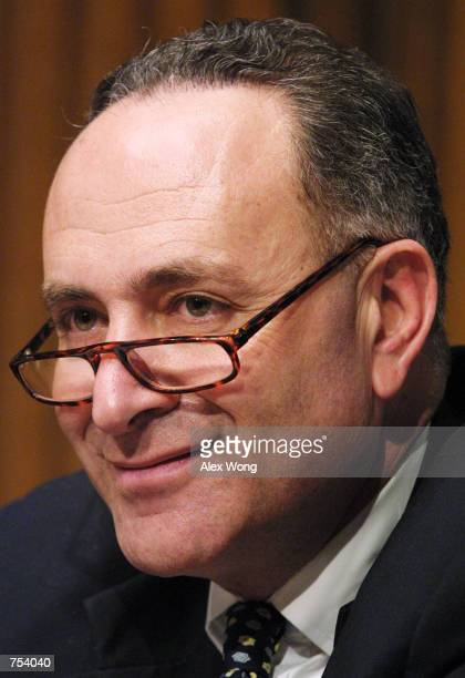 Senator Chuck Schumer listen to testimony during a hearing on the impact of consolidation in the airline industry before the Senate Judiciary...