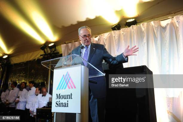 Senator Chuck Schumer speaks onstage during the Mount Sinai Health System 2017 Crystal Party in Central Park Conservatory Garden on May 4 2017 in New...