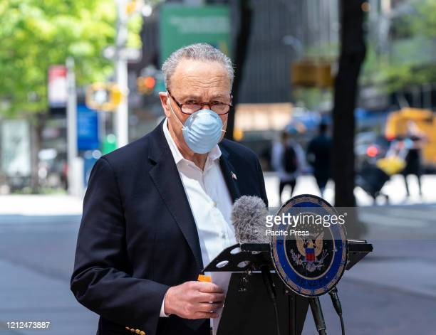 Senator Chuck Schumer wearing facial mask demands Veterans Affairs to answer purpose of recent bulk order of Hydroxychloroquine medication during...