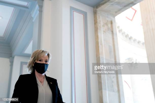 Senator Cindy Hyde-Smith wears a protective mask while arriving to Senate Republican policy luncheon at the Russell Senate Office Building on April...