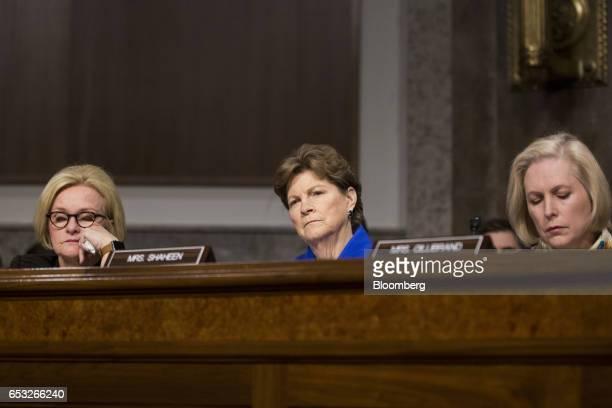 Senator Claire McCaskill a Democrat from Missouri from left Senator Jeanne Shaheen a Democrat from New Hampshire and Senator Kirsten Gillibrand a...