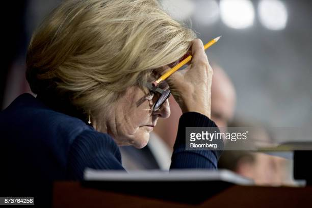 Senator Claire McCaskill a Democrat from Missouri listens during a Senate Finance Committee markup hearing on the Tax Cuts and Jobs Act in Washington...