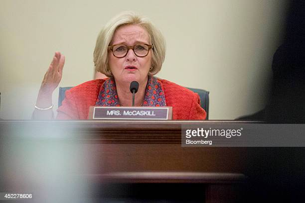 Senator Claire McCaskill a Democrat from Missouri questions witnesses during a Senate Consumer Protection Product Safety and Insurance Subcommittee...