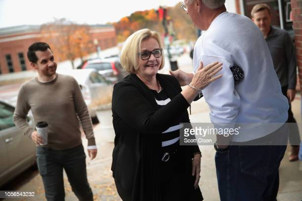 Senator Claire McCaskill arrives for a campaign stop at a Democrat party office on November 2 2018 in Fulton Missouri McCaskill is in a tight race...