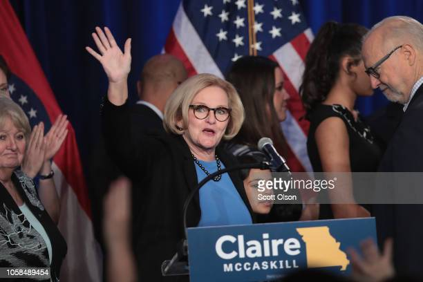 Senator Claire McCaskill concedes defeat in her bid to keep her US Senate seat during an electionnight rally on November 6 2018 in St Louis Missouri...