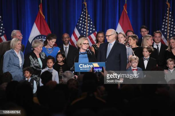 Senator Claire McCaskill concedes defeatin her bid to keep her US Senate seat during an electionnight rally on November 6 2018 in St Louis Missouri...