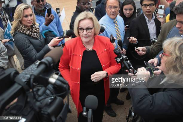 Senator Claire McCaskill fields questions from reporters following a campaign stop at The Royale bar on November 5 2018 in St Louis Missouri...