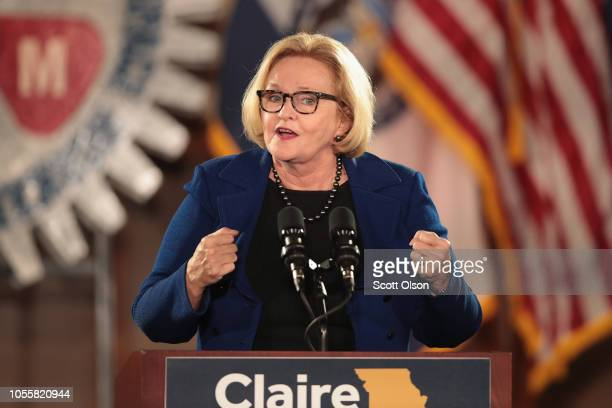 Senator Claire McCaskill speaks to supporters at a get out the vote rally she held with former Vice President Joe Biden on October 31 2018 in...