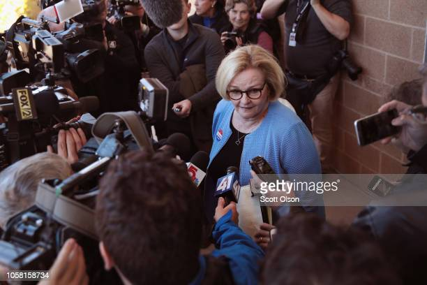 Senator Claire McCaskill speaks with reporters as she leaves the polling station after voting on November 6 2018 in Kirkwood Missouri McCaskill is in...