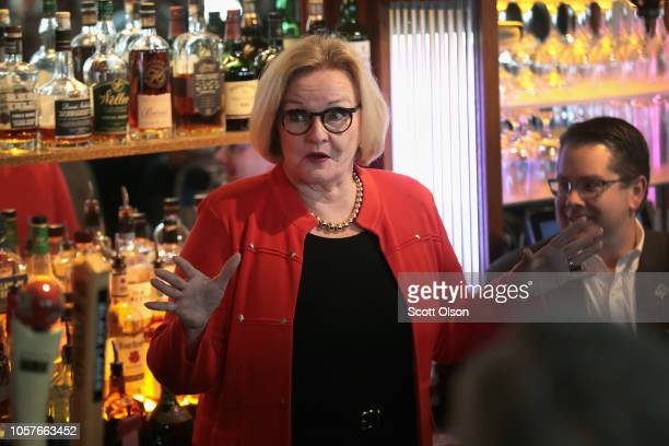 Senator Claire McCaskill speaks with supporters at The Royale bar on November 5 2018 in St Louis Missouri McCaskill is in a tight race for votes with...