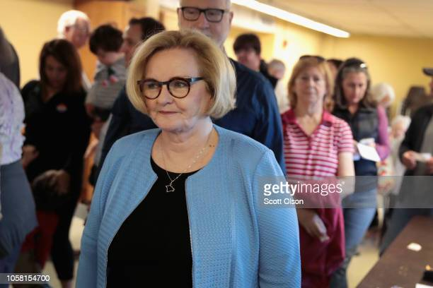 Senator Claire McCaskill waits in line at her polling station to cast her ballot in the midterm elections on November 6 2018 in Kirkwood Missouri...