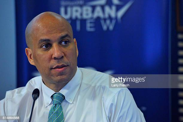 S Senator Corey Booker appears for a sitdown interview with Joe Madison The Black Eagle at SiriusXM Studio on March 11 2016 in Washington DC