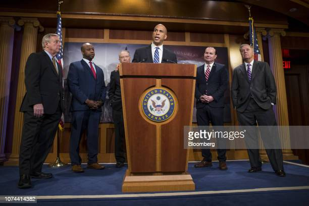 Senator Cory Booker a Democrat from New Jersey center speaks during a news conference on criminal justice reform on Capitol Hill in Washington DC US...