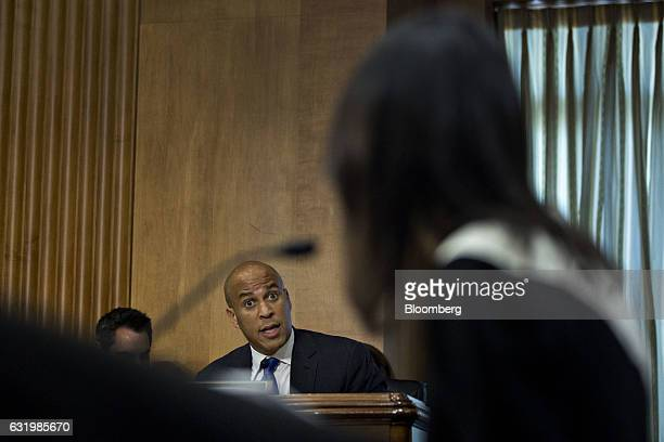 Senator Cory Booker a Democrat from New Jersey questions Nikki Haley governor of South Carolina and US ambassador to the United Nations nominee for...