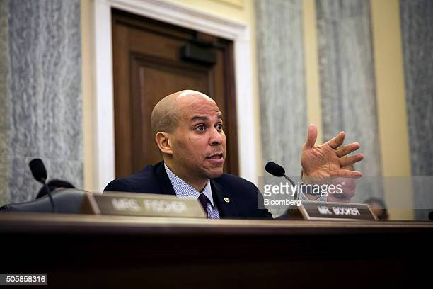 Senator Cory Booker a Democrat from New Jersey questions Scott Darling temporary head of the US Federal Motor Carrier Safety Administration not...
