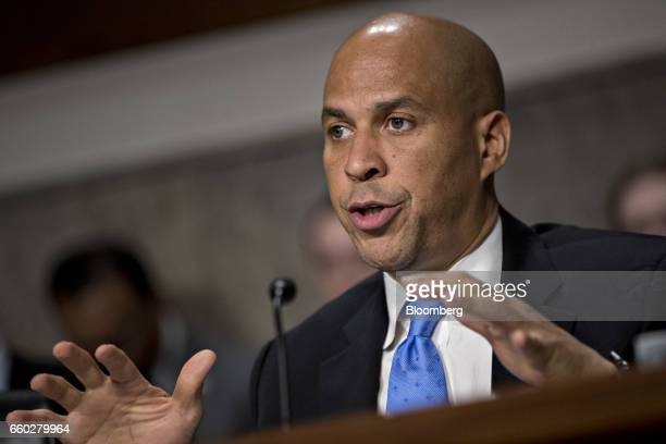 Senator Cory Booker a Democrat from New Jersey speaks during a Senate Transportation Science and Transportation Committee confirmation hearing for...