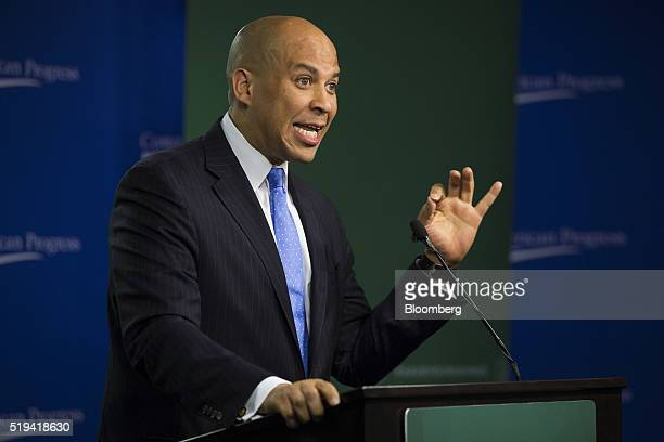 Senator Cory Booker a Democrat from New Jersey speaks during a US Labor Department news conference at the Center for American Progress in Washington...