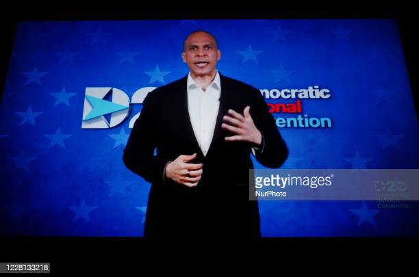 Senator Cory Booker addresses the virtual 2020 Democratic National Convention, livestreamed online and viewed by laptop from the United Kingdom in...