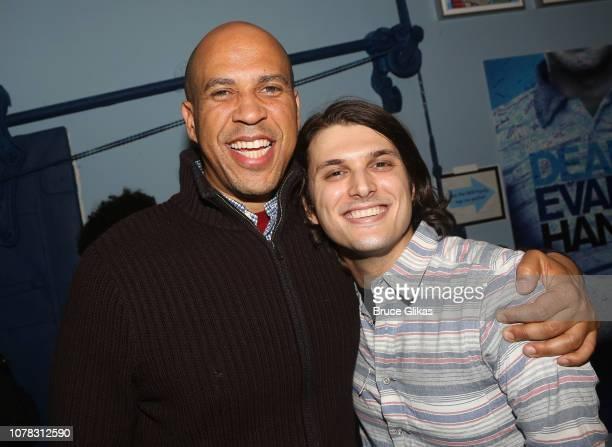 Senator Cory Booker and Alex Boniello pose backstage at the hit Tony Winning Musical 'Dear Evan Hansen' on Broadway at The Music Box Theatre on...