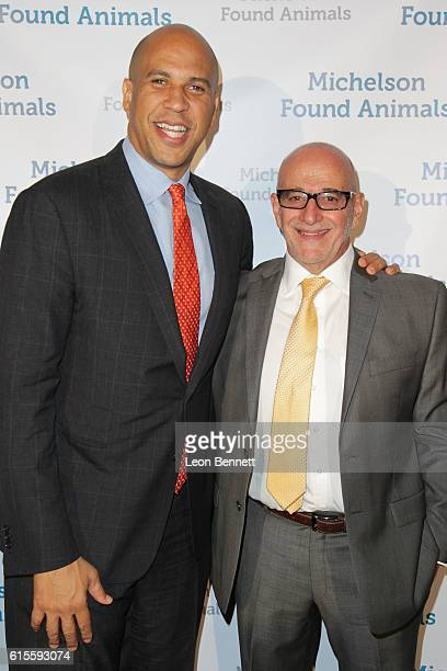 S Senator Cory Booker and CoFounder of Best Friends Animal Society Francis Battista attends Michelson Found Animals Hosts 5th Annual Gala Honoring...