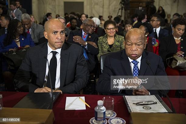 Senator Cory Booker and Representative John Lewis wait to testify against Presidentelect Trumps nomination of Senator Jeff Sessions to be Attorney...