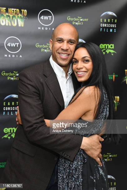 Senator Cory Booker and Rosario Dawson at the LA Premiere Global Free Screening Launch of Rosario Dawson's EcoSolution Film The Need To GROW on...