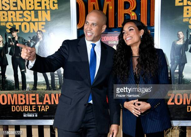 Senator Cory Booker and Rosario Dawson attend the Premiere Of Sony Pictures' Zombieland Double Tap at Regency Village Theatre on October 10 2019 in...